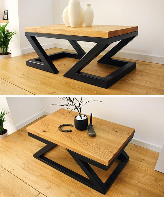 Modern Coffee Table Double Z By Soxoni Wooden Furniture Furniture Design Wooden Metal Furniture Design Coffee Table Design