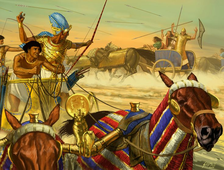 Battle of Kadesh.  Egyptian war chariot in action against 3 man Hittite chariots.  (Thanks Richard for the info.  ;-)