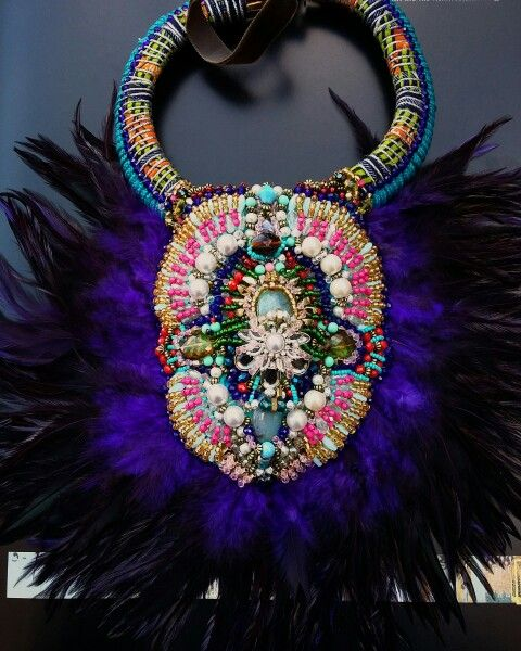 The ELORA  feather collar by Anita Quansah London