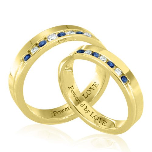 His And Hers Wedding Rings With Diamond Shires In 18k White Or Yellow Gold