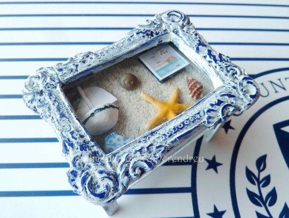 Nautical cofee table dollhouse miniature by Evamini on Etsy, $35.00