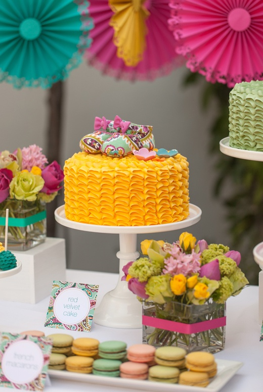 Unisex Baby Shower Ideas Part - 22: Sweet Treats At A Pack Her Bag Baby Shower Inspired By Tutti Frutti By Kim  Of The TomKat Studio. LOVE The Colorful Ruffle Cakes!