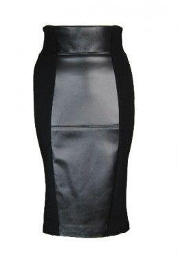 Isabel de pedro leather panel black pencil skirt