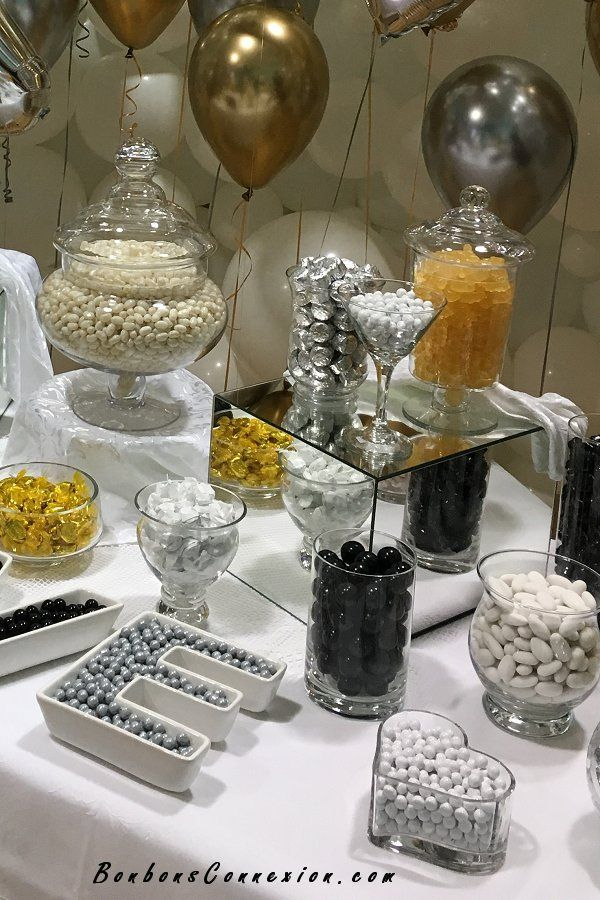 White Gold Silver And Black Wedding Candy Buffet Bar Birthday Party Candy Table White Candy Buffet Wedding Candy Table