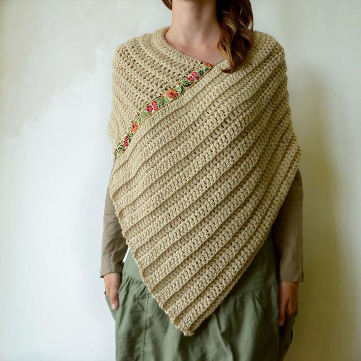 crochet poncho scarf