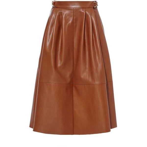 Derek Lam Leather Midi Skirt (138,535 PHP) via Polyvore featuring skirts, brown knee length skirt, knee length a line skirt, a line skirt, brown skirt and calf length skirts