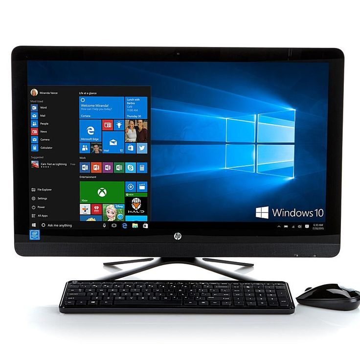 """HP 23.8"""" Touch Full HD IPS, Intel Quad-Core 8GB RAM, 1TB HDD All-in-One Windows 10 Desktop PC with Software and Services - Black"""