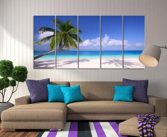 Xlarge 5 Panels Nature Wall Art Canvas Print Tropical Ocean With