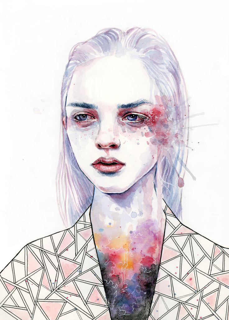 watercolour and pen self portrait - Google Search