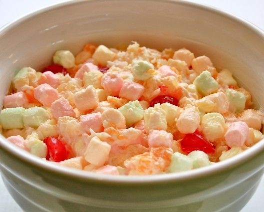 marshmallow salad aka ambrosia. My Gramma used to make this and I loved it! So happy to get the recipe