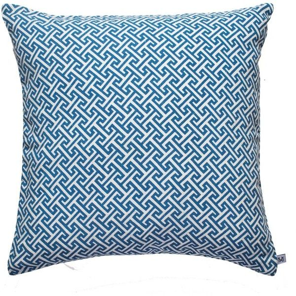 Nina Kullberg - Athens Riviera Blue Cushion (370 ILS) ❤ liked on Polyvore featuring home, home decor, throw pillows, machine washable throw pillows, blue accent pillows, blue home decor, blue toss pillows and zippered throw pillows
