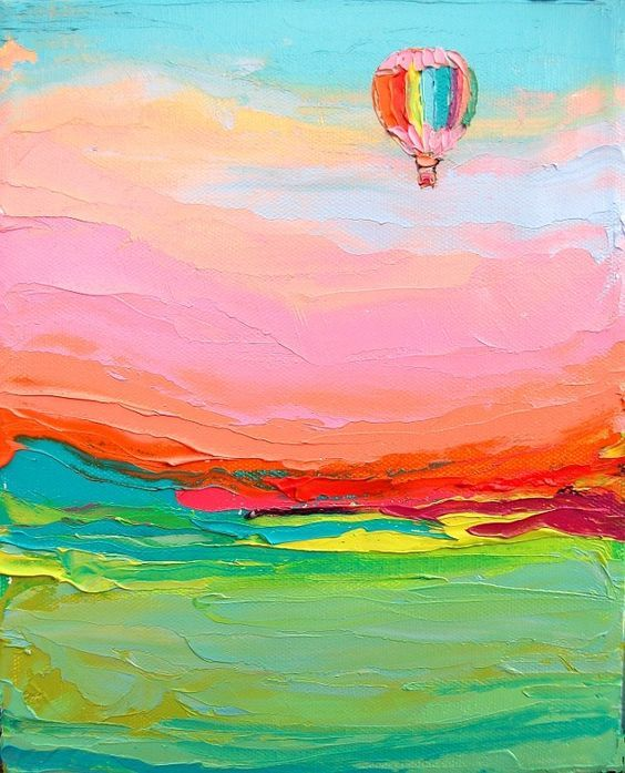 Float On - impasto hot air balloon in landscape by Aja