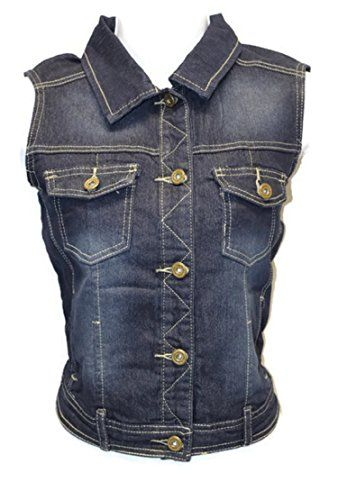Sleeveless Stretch Denim Cardigan Vest Tops Size Medium   Special Offer: $19.99      433 Reviews Sleeveless Stretch Denim Cardigan Vest Tops sizes S/M/L/XLJUNIOR SIZEButton Up Denim Vest84% Cotton 13% Polyester 3% ElasthaneLength S-18″ M-19″ L-19.5″ XL-19.5″ (From...