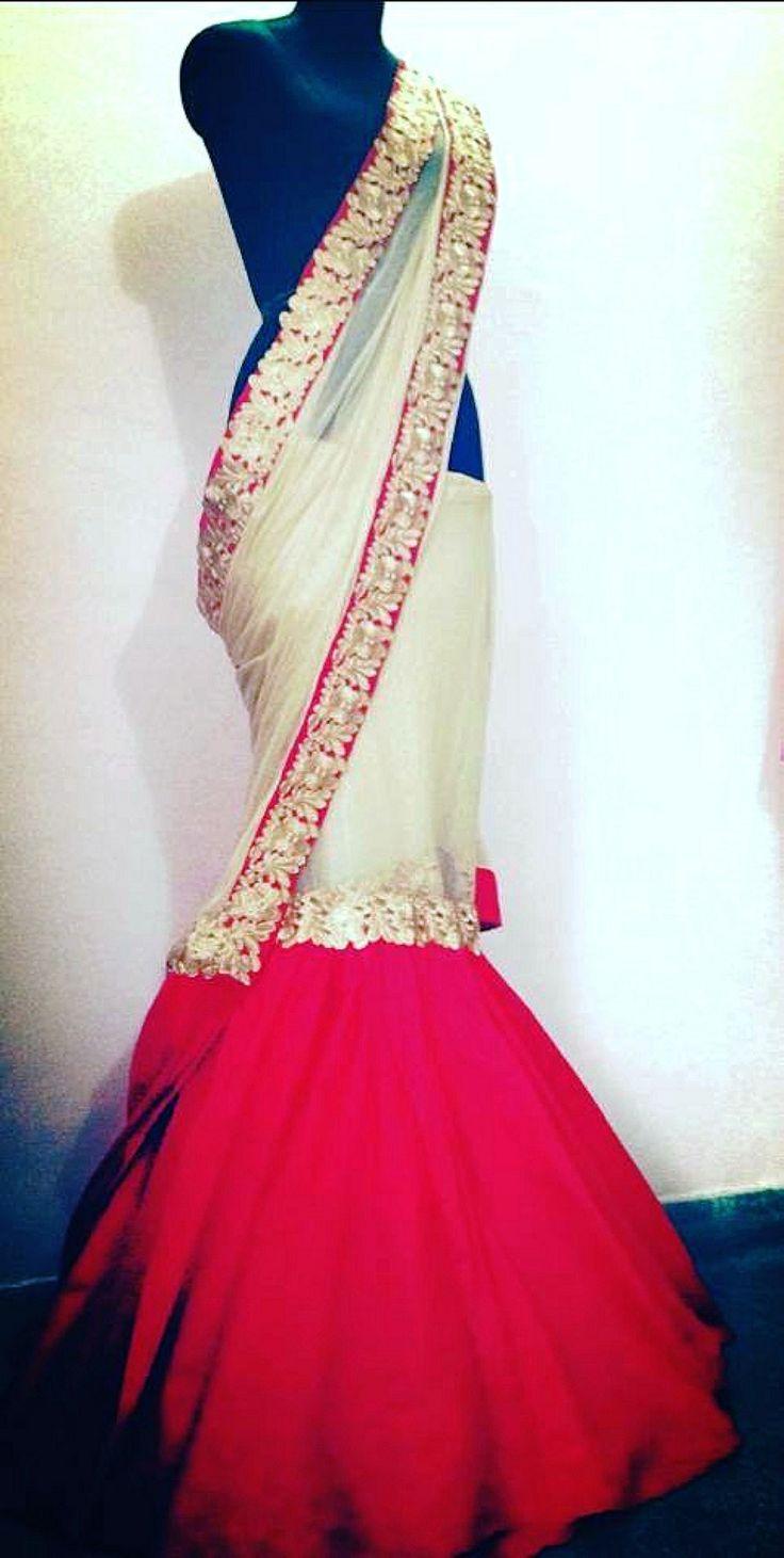 Red carpet Saree by Brand Sum Sum and Suman Bajaj... http://sareedreams.com/2014/03/my-oscars-saree/