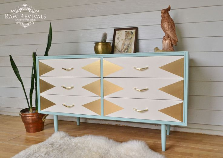 Vintage 60s chest of drawers with gold geometric feature added to this aqua sideboard.  www.rawrevivals.com.au