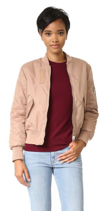Carter reversible bomber jacket by Whistles. Lattice quilting accents this reversible, fiber filled Whistles bomber jacket. 2 flap pockets and 1 utility pocket. L...