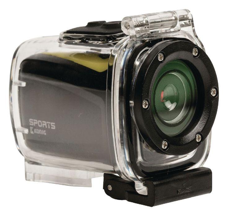 König HD action cam met fiets- en helmbevestiging om alle actie vast te leggen tijdens het skiën, skydiven of raften, of om te gebruiken tijdens een boswandeling.
