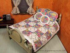 Spring garden miniature dollhouse bedspread pillow set.  Sold but visit Pugcentric Pursuits at Etsy.