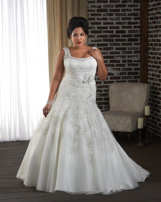 Plus Size Wedding Dress Drop Waist Lace Wedding Gown Beaded Straps Belt