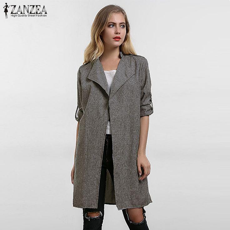 2017 Spring Women Slim Thin Outerwear Casual Lapel Windbreaker Cape Coat European Style Linen Cardigan Jacket US Plus Size S-7XL