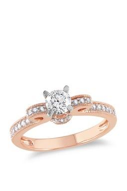 Two-Tone Round Diamond Bow Ring - 0.50 ctw