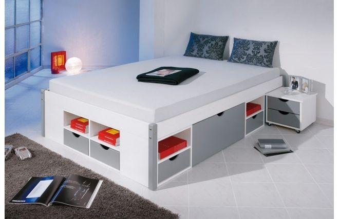 Un lit avec des rangements, moderne et épuré, idéal pour les ados