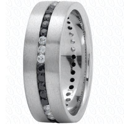 Beautiful Men us Wedding Band White Gold with Black and White Diamonds