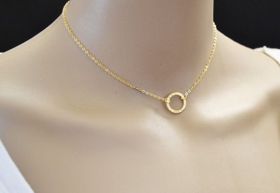 ca558be4e Gold Choker Necklace for Women, Gold Circle Necklace, 12 Inch, Minimalist  14k Gold Filled Circle Choker Pendant Necklace