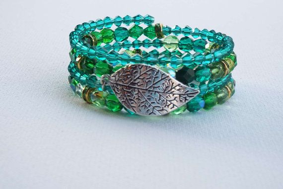 Emerald Leaf Bracelet, Silver Charm Wrap, Green Christmas Jewelry, Great Christmas Gift Coworker, Unique Gift for Girlfriend, Holiday Party