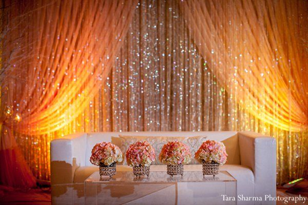 Backdrop with lighting and shine (Princeton, NJ Indian Wedding by Tara Sharma Photography - Maharani ...)