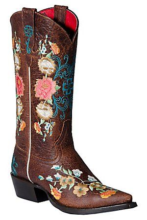 Anderson Bean Macie Bean Ladies Chocolate Brown w/ Floral Embroidered Snip Toe Boot