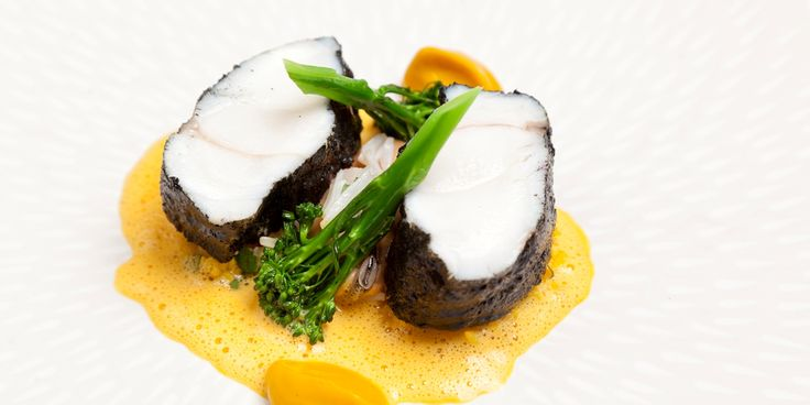 Monkfish tail with blackened spices, cracked wheat and lightly spiced mussels