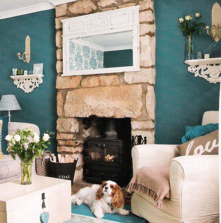 Teal Living Room With Stone Fireplace Casa De Anderson
