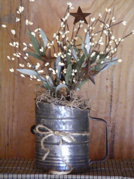 Vintage Sifter with Pip Berries Primitive Home by theprimplace, $20.00