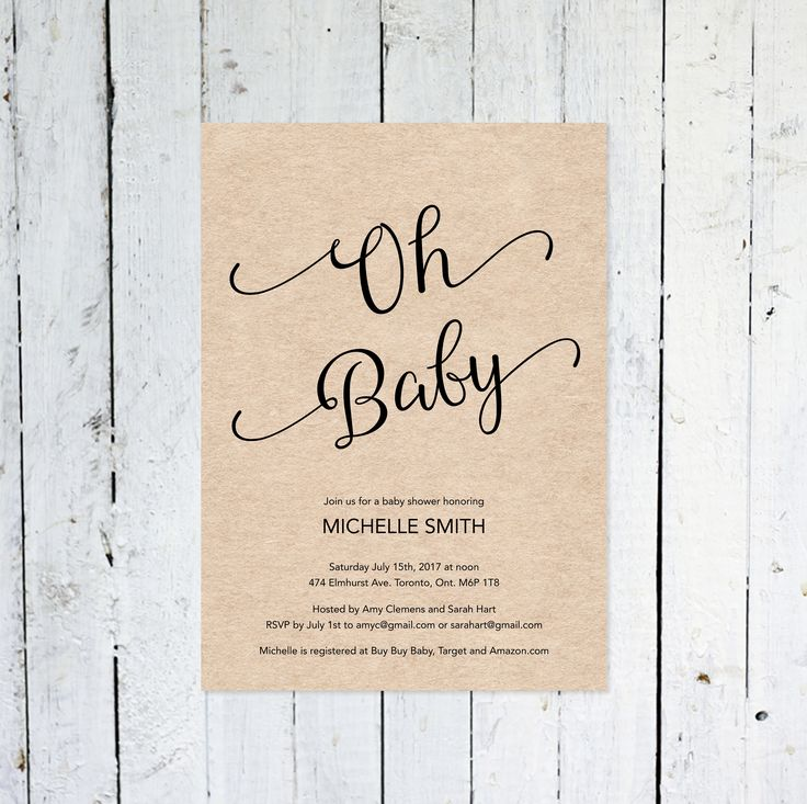 Baby Shower Invitation, Gender Neutral, Oh Baby, Kraft Paper, Modern, Simple, Printable, Printed by vocatio on Etsy https://www.etsy.com/ca/listing/574536208/baby-shower-invitation-gender-neutral-oh