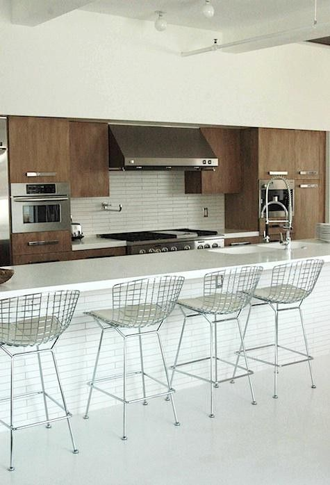 Bertoia stools - White out bar stool, white counter top ,