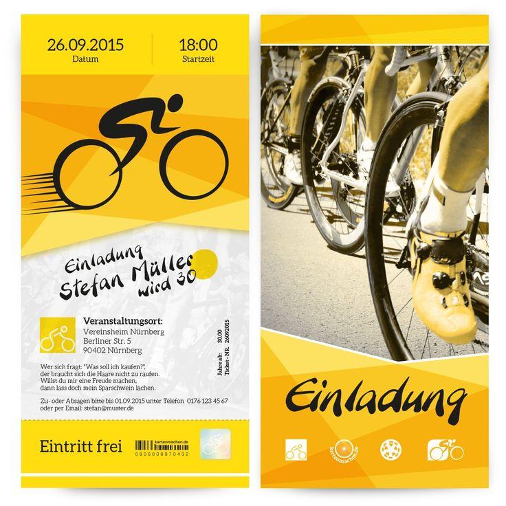 Einladungen - Fahrrad Rennen #geburtstag #einladung #geburtstagseinladung #fahrradrennen #fahrrad #tourdefrance #birthday #invitation