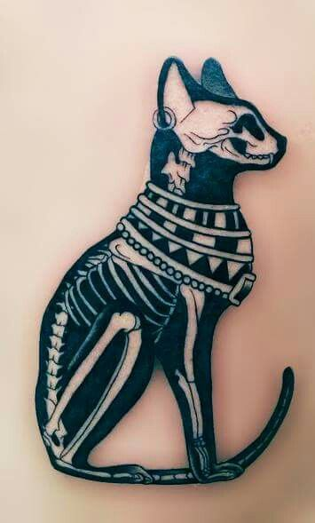 Cat skeleton tattoo #cat #skeleton #tattoo