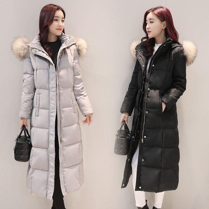 Women's Parka Coats Warm Duck Down Jackets Bag Faux Fur Collar Hooded Outwear