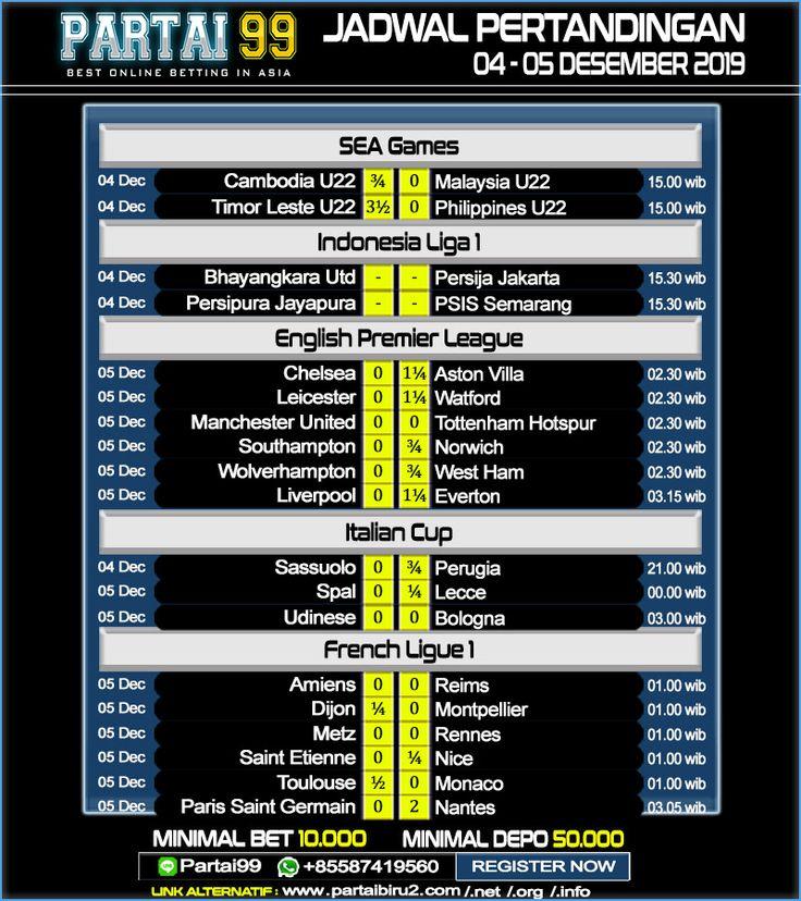 Jadwal Pertandingan Sepak Bola 04 05 Desember 2019