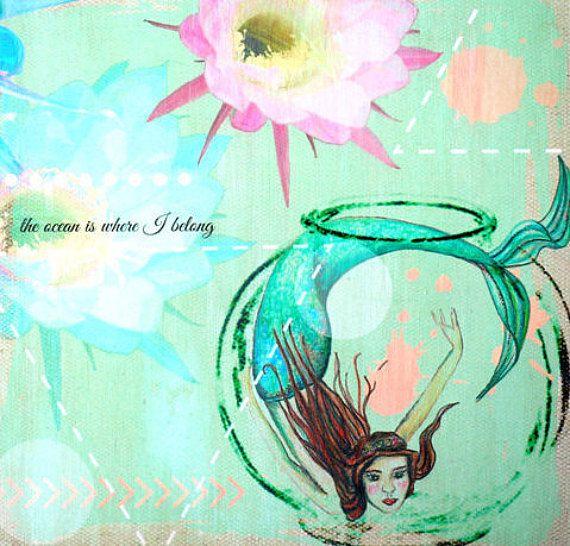 Mermaid art on wood print mermaid wall art by SharelCilliers