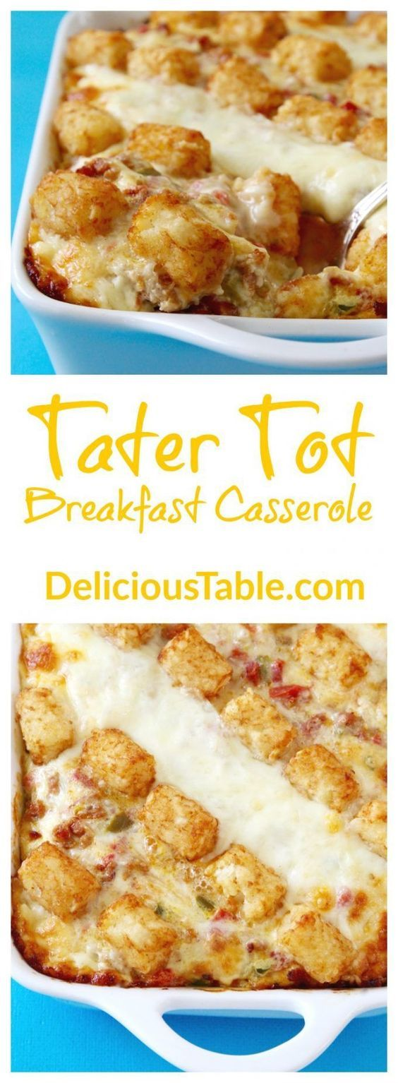 EASY recipe to make ahead for breakfast or brunch, bakes in 50 minutes. Tater Tot Breakfast Casserole is perfect for lazy weekends with family and friends!