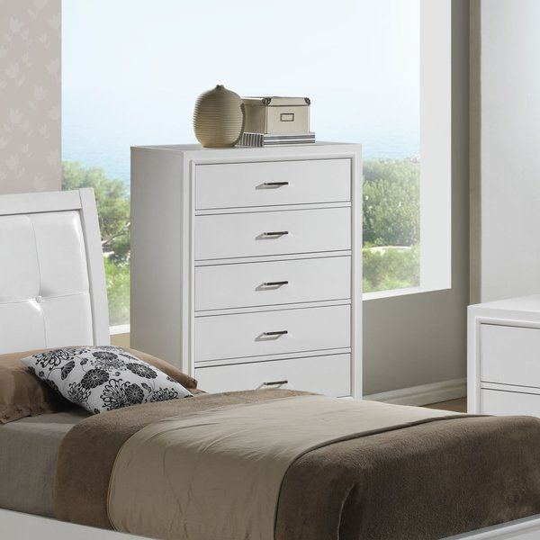 A clean-lined and transitional twist for any look, this understated chest brings a low-key touch to your master suite or guest room. Featuring a boxy wood design with five drawers, this chest is the perfect marriage of subtle looks and versatile utility. Set it in the master suite topped with a vignette of framed photos and potted succulents to create an inviting and homey aesthetic in your space, then stock up the five drawers with clothes and spare bedding to tie the space together…