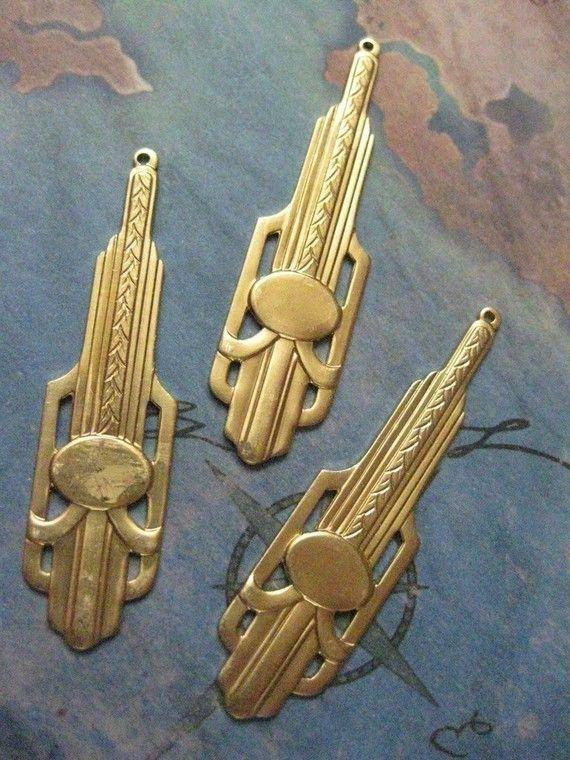 2 PC Raw Brass Art DECO Jewelry Finding - Z006
