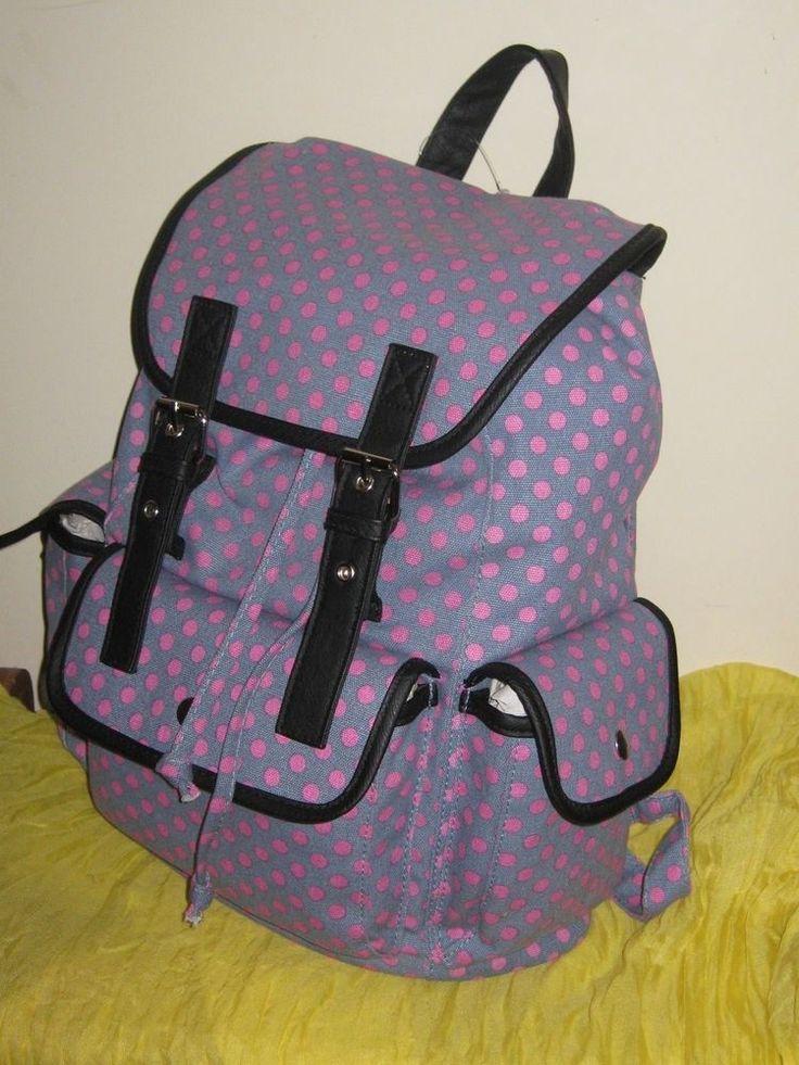 Candie's Polka Dot Print Backpack Bag Black Trim - NWT Retail $60.00  #AS35 #Candies #Backpack
