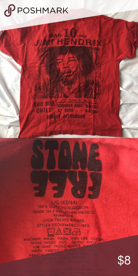 """Jimi Hendrix T-Shirt Men's red t-shirt. Open to offers. Not from animal free home. 26"""" long from shoulder to hem; 20.5"""" wide pit to pit. stone free Shirts Tees - Short Sleeve"""