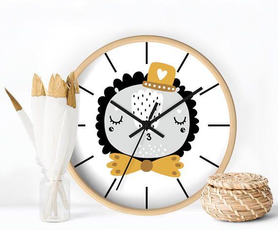 Funny Leon Kids Wall Clock, Kids room decor, Modern nursery wall clock, Scandinavian Design Kids clock, Nordic Kids room decor, Wall clock