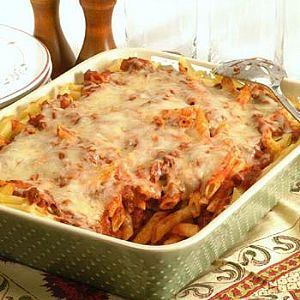 Beef and Penne Casserole - This is comfort food at its best (and a family favourite), combining extra lean ground beef, tomatoes, penne pasta and a sprinkling of reduced fat cheese.