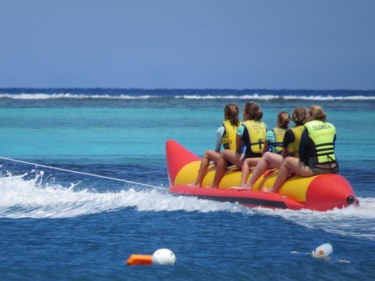 banana boat riding in Fiji.