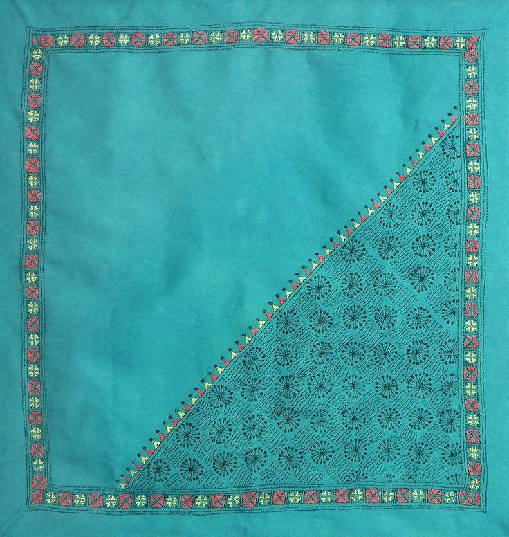 Cyan Green Head Scarf with Kantha Stitch (Cotton Cloth)